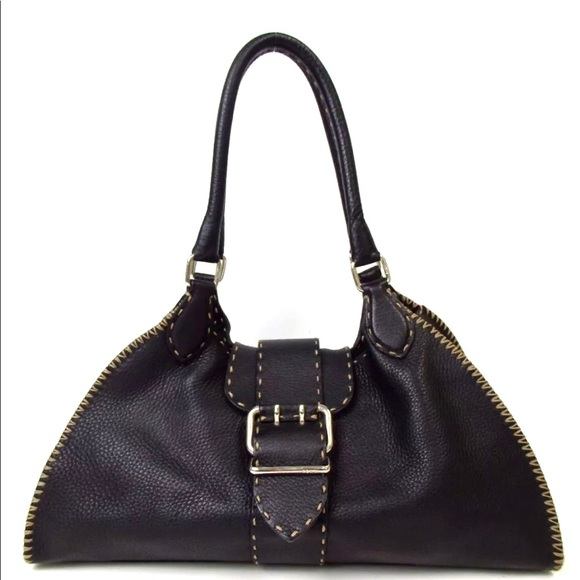b13027f7b4 Fendi Bags | Auth Selleria Black Leather Shoulder Bag | Poshmark